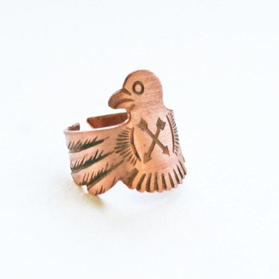 eagle native totem ring - brass bird cross arrow ring vintage