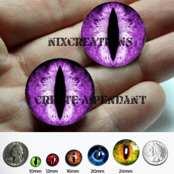 Taxidermy Glass Eyes - 16mm - Purple Dragon Eye Cabochons for Steampunk Jewelry and Pendant Making
