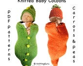 2  Knit PATTERNS Tutorials - Baby Cocoons and Hats / Buntings / Costumes DIY - Carrots and Peas