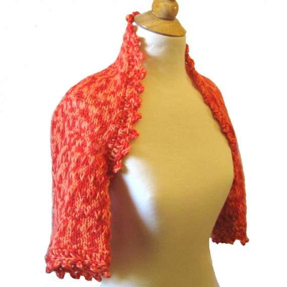 Tangerine Knit Lace Shrug  - RESERVED FOR ANGIE - Marigold Orange Hand Painted Wool