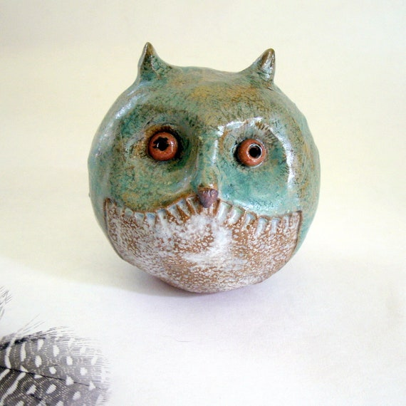 Mossy Teal  Owl, Stoneware Sculpture