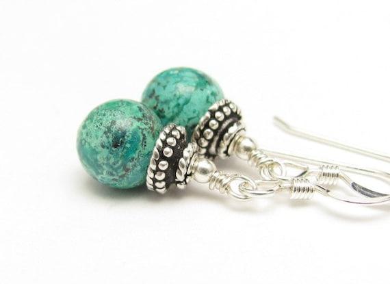 Chrysocolla Earrings Sterling Silver Gemstone Dangle Earrings