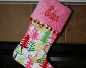 PERSONALIZED CHRISTMAS STOCKING with ball fringe - Pink, Red and Green Christmas Trees - Customize to your specifications