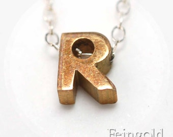 Letter R - Initial - Vintage Brass Pendant on Sterling Silver Chain - Free US Shipping