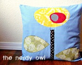 Abstract Flower 14X14 Pillow Cover blue/yellow/red ready to ship / free shipping