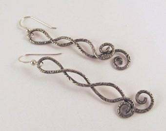 Textured Antique Silver Earrings