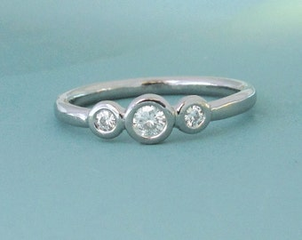 Three Stone Engagement Ring - Palladium 950 and Moissanite - Ready to Ship in Size 7