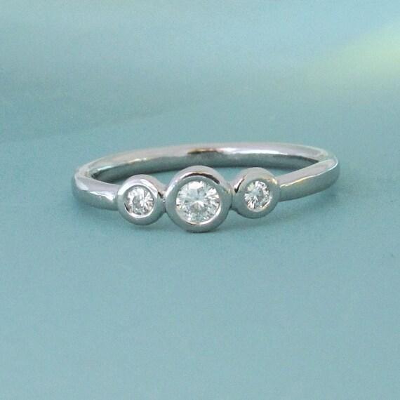 Three Stone Moissanite Engagement Ring - Palladium 950 and Moissanite