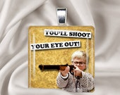 Christmas Necklace - A Christmas Story - You'll Shoot Your Eye Out - Holiday Square Glass Tile Pendant