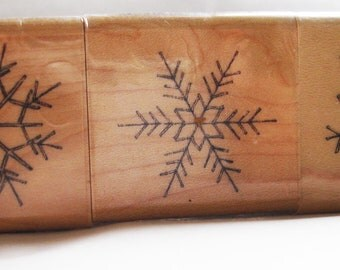 set of three wood delicate crystal snowflakes rubber stamps
