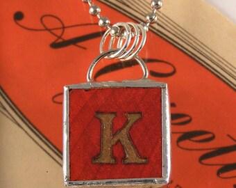 Red Letter K Pendant Necklace