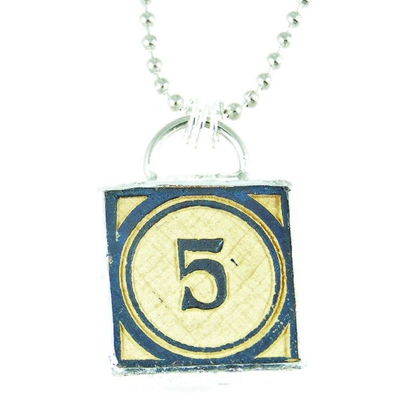 Number 5 Pendant Necklace