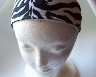 Black and white zebra print headband