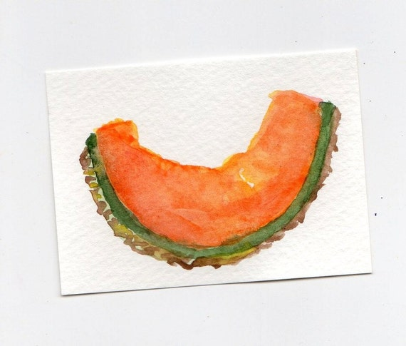 ACEO Cantaloupe  watercolor, original painting, small fruit watercolor