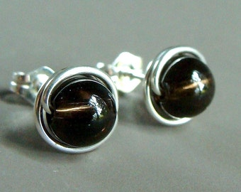 Smoky Quartz Studs 8mm Round Quartz Post Earrings Wire Wrapped in Sterling Silver Stud Earrings