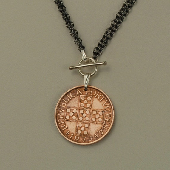 Portugal Coin Necklace 1973 Quinas Cross