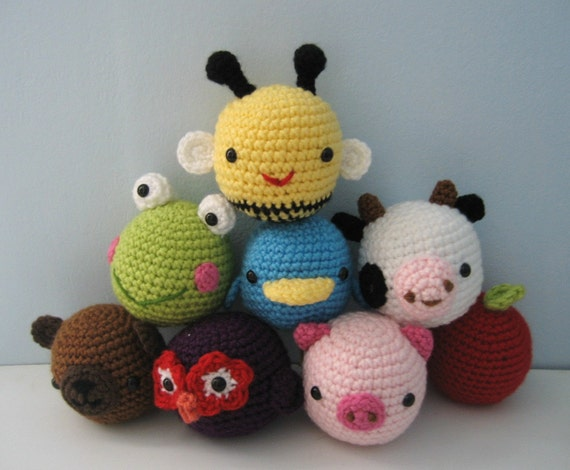 Amigurumi Animal Toys for Baby Crochet Pattern Set Digital Download