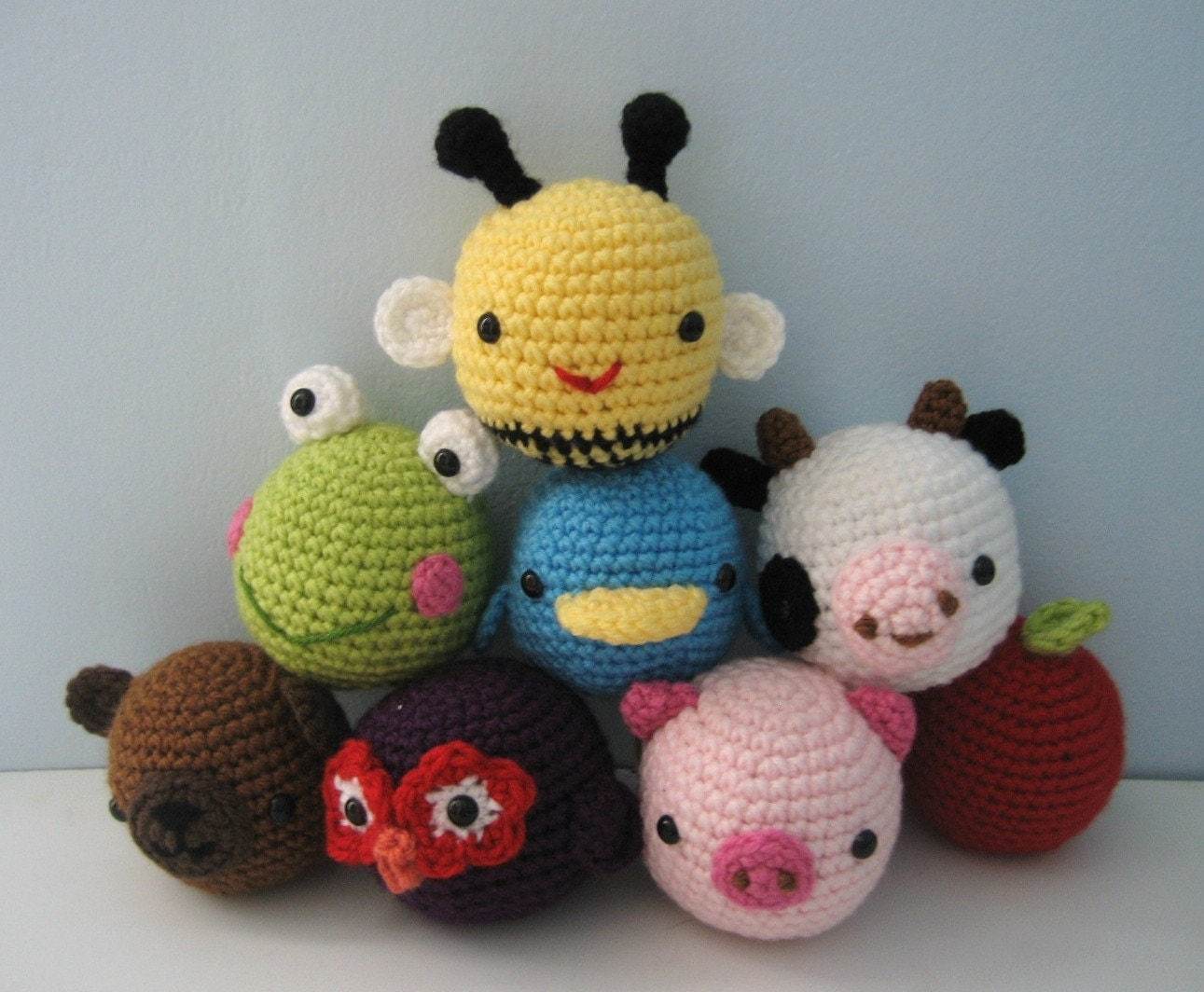 Beginner Crochet Patterns For Baby Toys : Amigurumi Crochet Animal Toys for Baby Pattern Digital