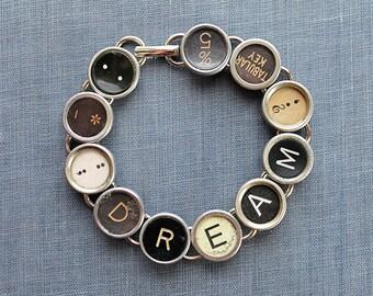 TYPEWRITER Key BRACELET Jewerly Made with Typewriter Keys DREAM