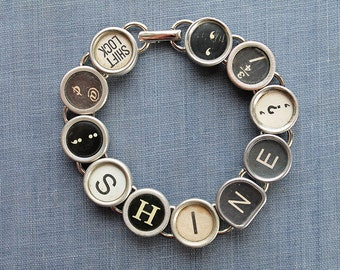 TYPEWRITER Key BRACELET Jewerly Made with Typewriter Keys SHINE