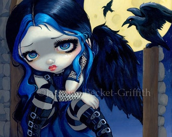 The Whispered Word Lenore goth poe fairy art print by Jasmine Becket-Griffith 8x10