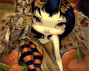 Owlyn in Autumn pumpkin owl fairy art print by Jasmine Becket-Griffith 8x10