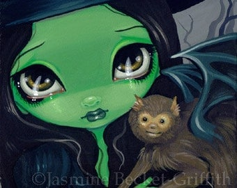 Faces of Faery 36 wizard of oz witch flying monkey big eye fairy face art print by Jasmine Becket-Griffith 6x6
