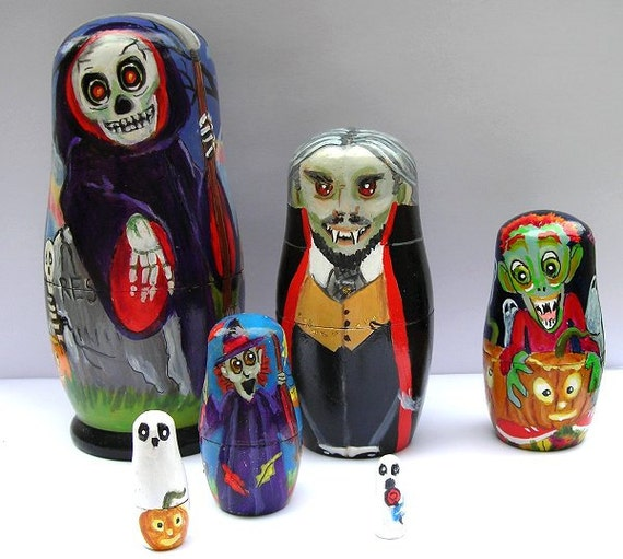 Nesting Dolls, Halloween - All Hallows Eve - by Patricia Ann Rizzo OOAK