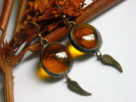 Amber Glass Jewel Angel Wing Earrings