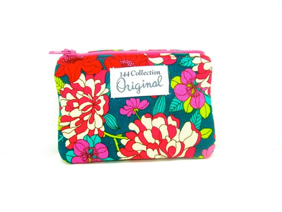 Change Purse/ Small Wallet - Copeland Magenta Teal Bloomsbury Change Purse