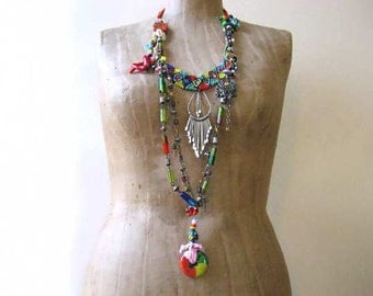 Nomadic Groove Necklace, Tribal, Beaded, Long, Shell, Coral,  Metal, Fused Glass, Boho Jewelry
