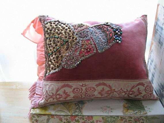 Dusky Fusion Pillow, Cushion, Antique Velvet, Intricate Bead Work, Bohemian, Gypsy, Home Decor