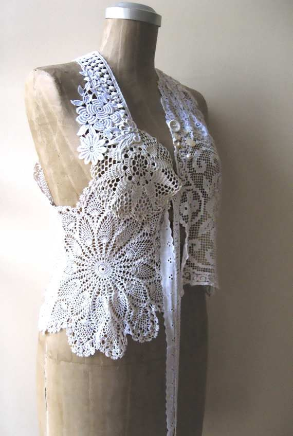 SALE - Antique Lace Vest, Waistcoat, Whites, Creams, Mother of Pearl, Applique, Rustic, Bohemian Gypsy
