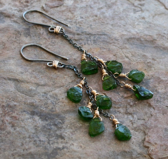 Russian Chrome DIOPSIDE earrings, hammered finish nuggets, sterling silver and gold, 14k gold filled