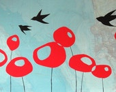 SALE - San Diego - Original Map Painting 22 x 36 - Bird and Poppy Art
