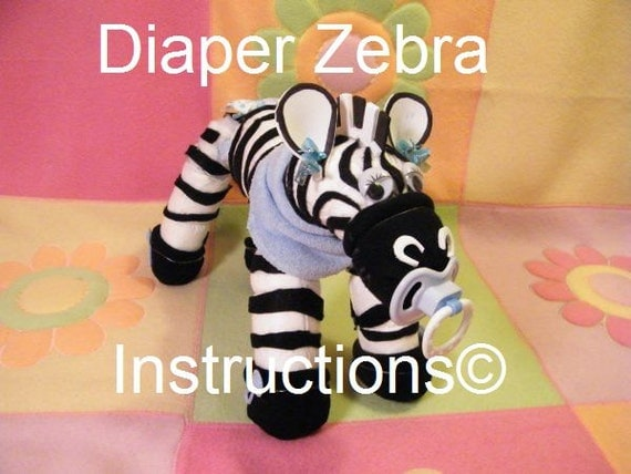 Diaper Zebra Instructions. Learn to make from diapers. Baby shower talk of the town. How to make it instructions.