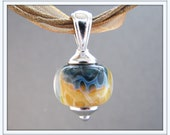Royal Blue and Tan Spotted Glass Necklace - Ribbon Lampwork Necklace - Sand and Sea
