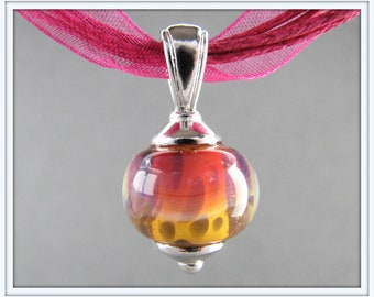 Boro Necklace - Lampwork Necklace - French Rose Pink and Saffron Yellow