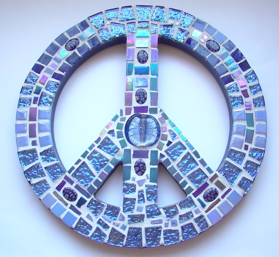 Mosaic Art Peace Sign Wall Hanging Electric Blue Metallic ReTRo Hippie