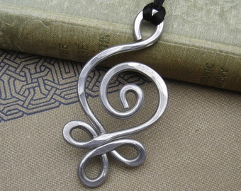 Big Celtic Pendant Necklace, Aluminum Budding Spiral Light Weight, Celtic Jewelry, Celtic Necklace, Large Statement Pendant, Christmas Gift