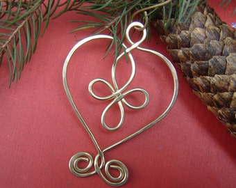 Brass Celtic Heart Cross Holiday Ornament, Handmade Gift, Christmas Ornament, Celtic Holiday Decoration, Tree Ornament, Home Decor