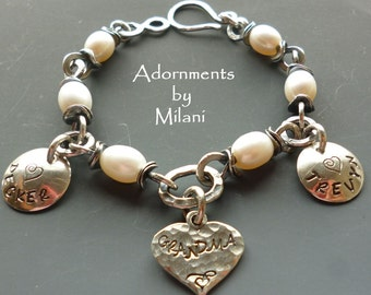 Grandma Bracelet 2 Two Children Grandkids Names  Personalized Jewelry Pearls Sterling Silver Rustic Chunky