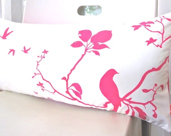 Limited Time Sale Hot Pink Print on Off white Flying By Rectangle Pillow