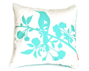 Mint Green Print on Off white Blooming Blossom-Mini 10.5 Inches Square Pillow