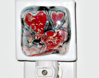 Dichroic Red Hearts Fused Glass Night Light