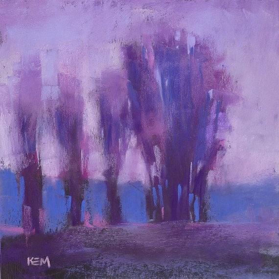 Contemporary Landscape Purple 10x10 Original Pastel Painting Karen Margulis