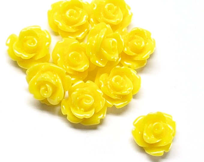 RSCRS-10SN - Resin Cabochon, Rose 10mm, Sunflower - 10 Pieces (1pk)
