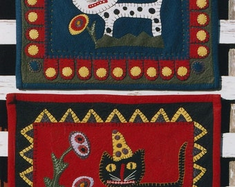 Miniature Quilt Pattern EPattern Cat PDF Cats Flowers Wool Felt  Penny Rug Wall Hanging by Hickety Pickety AS18