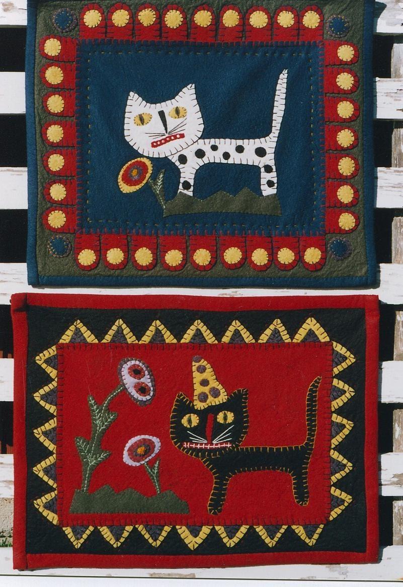 Miniature Quilt Pattern Epattern Cat Pdf Cats Flowers Wool