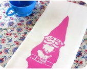 Gnome Kitchen Towel Pink Vintage Inspired Graphic Screen Print Hand Towel  Indie Housewares spring kitchen decor